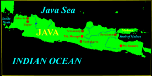 The island of Java with the location of Mount Merapi highlighted