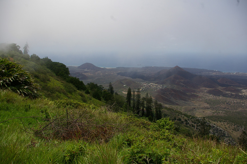 The Ascension Island landscape is a patchwork of green and brown