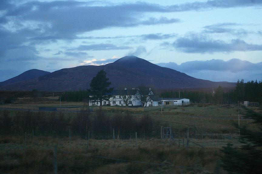 An early morning glimpse of the Scottish Highlands