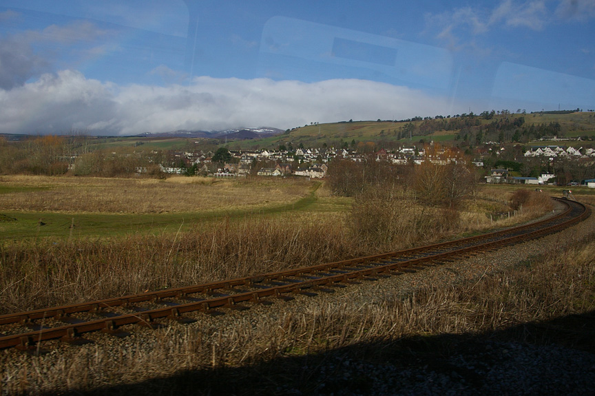 The train approaches the outskirts of Inverness