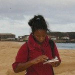 Jacqui Ellick collects location data on green sea turtle nests