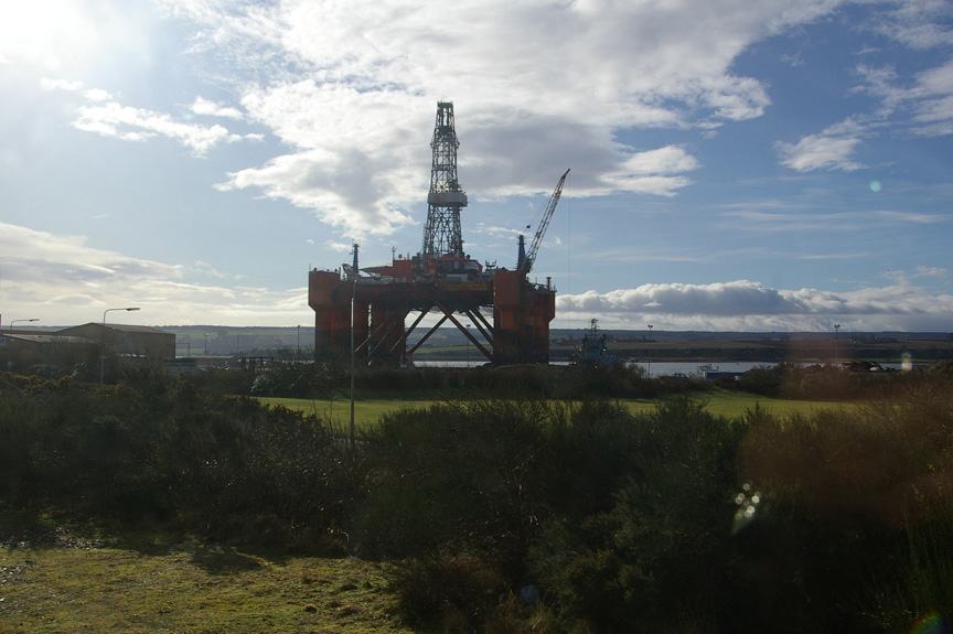 The Essar Wildcat, a floating oil rig about to be towed from Invergordon to India
