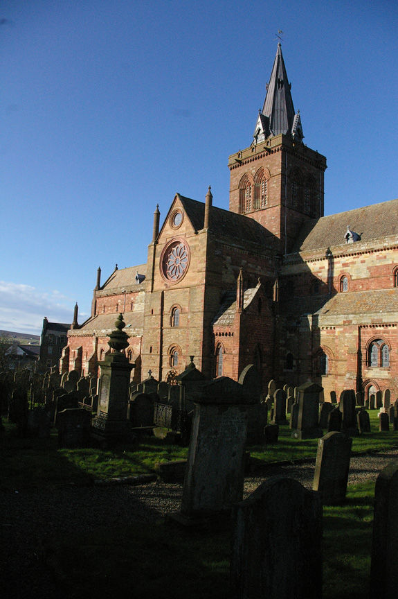 The spectacular Romanesque architecture of St. Magnus Cathedral rises above Kirkwall