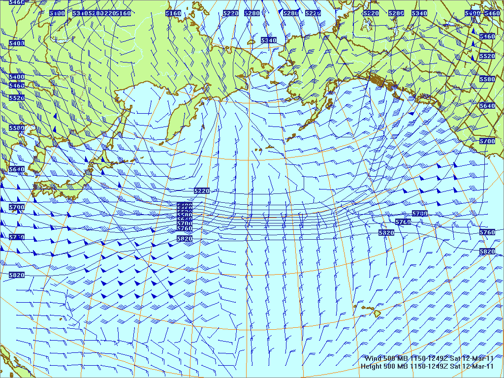 North­ern Pacific 500-mb pres­sure heights and winds, 12 Mar 2011, 1150Z