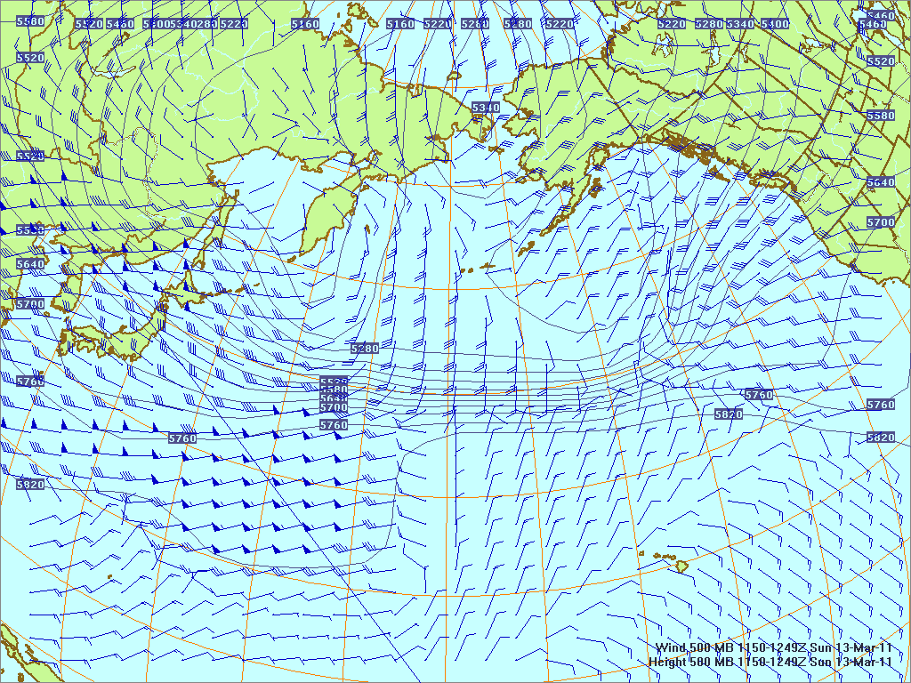 Northern Pacific 500-mb pressure heights and winds, 13 Mar 2011, 1150Z