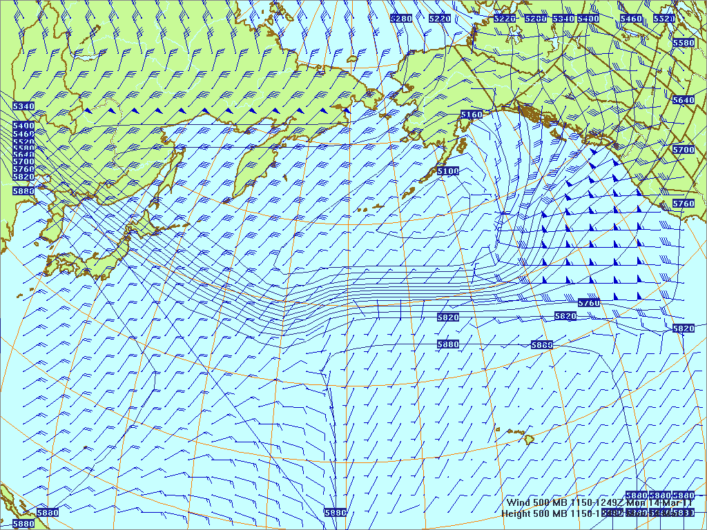 North­ern Pacific 500-mb pres­sure heights and winds, 14 Mar 2011, 1150Z