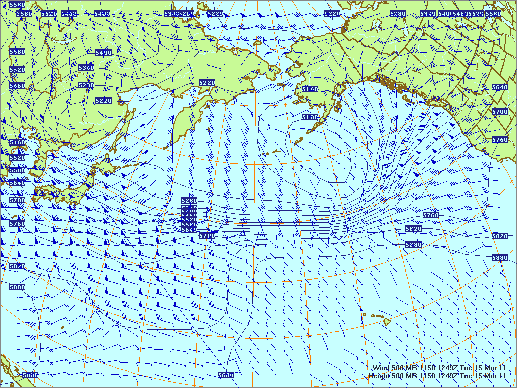 North­ern Pacific 500-mb pres­sure heights and winds, 15 Mar 2011, 1150Z
