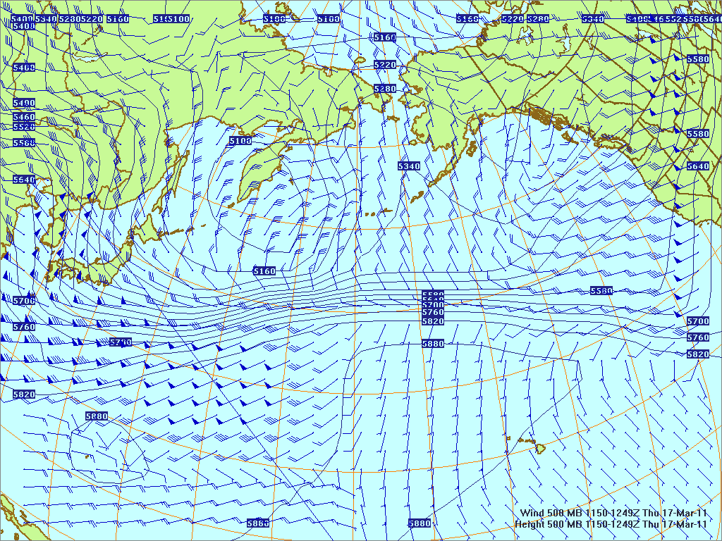 North­ern Pacific 500-mb pres­sure heights and winds, 17 Mar 2011, 1150Z