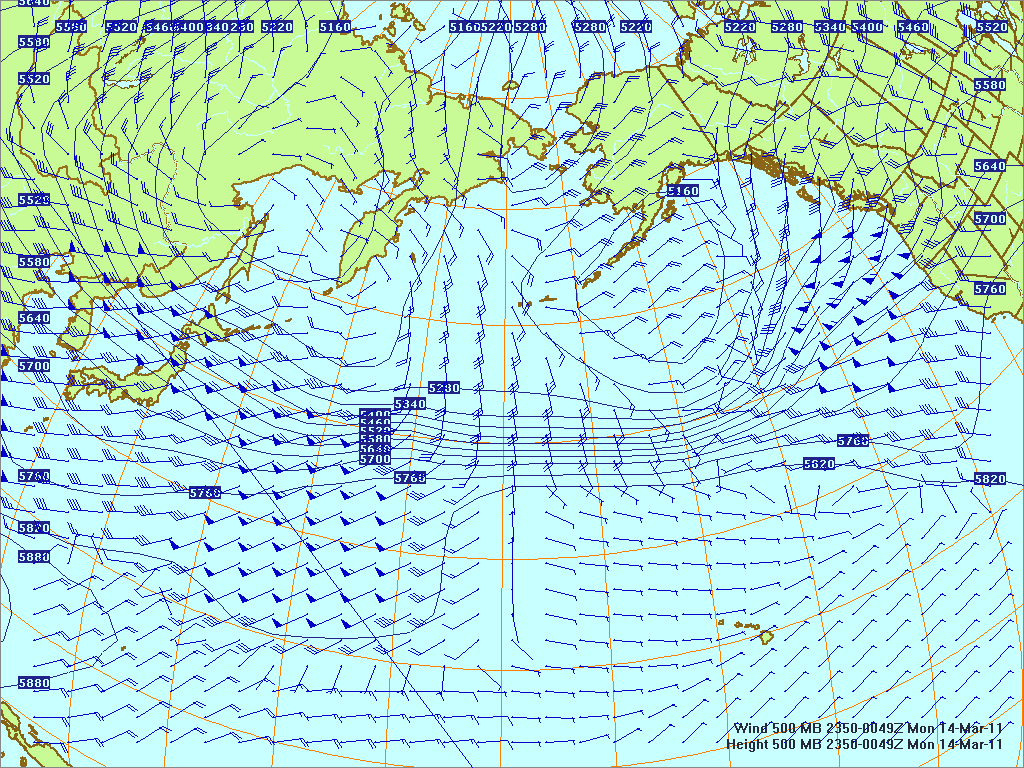 North­ern Pacific 500-mb pres­sure heights and winds, 13 Mar 3011, 2350Z