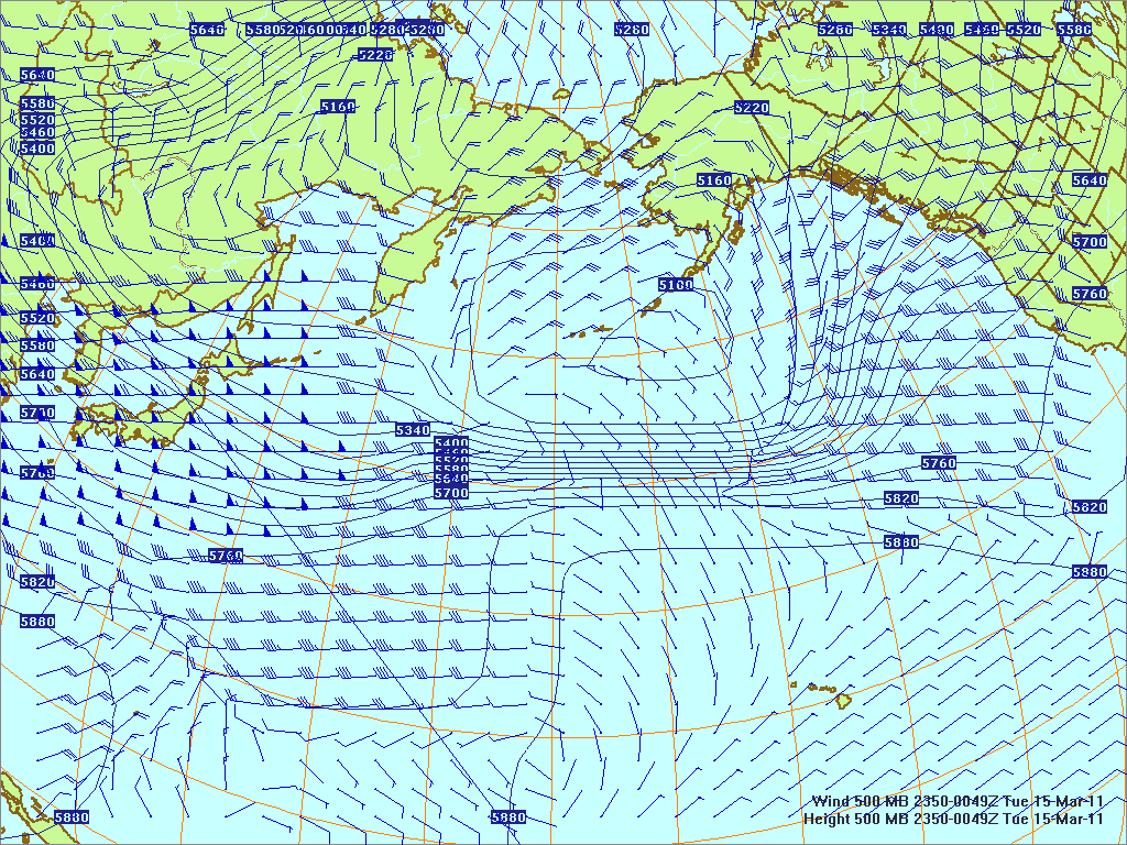 North­ern Pacific 500-mb pres­sure heights and winds, 14 Mar 2011, 2350Z