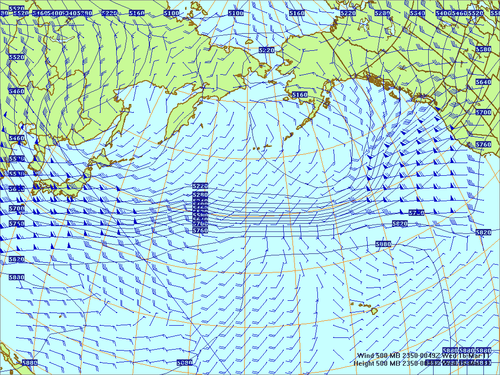 North­ern Pacific 500-mb pres­sure heights and winds, 15 Mar 2011, 2350Z