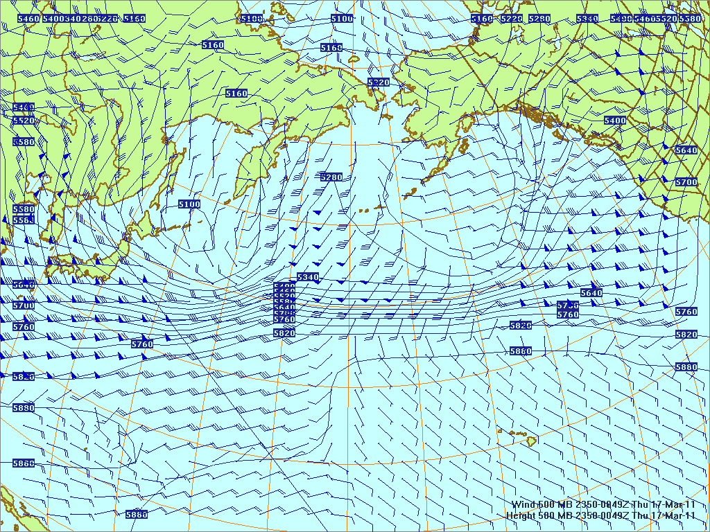 North­ern Pacific 500-mb pres­sure heights and winds, 16 Mar 2011, 1150Z