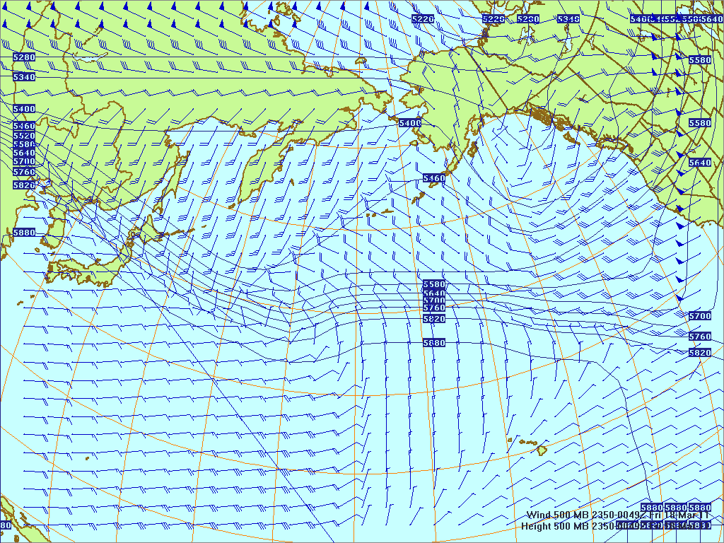 North­ern Pacific 500-mb pres­sure heights and winds, 17 Mar 2011, 2350Z