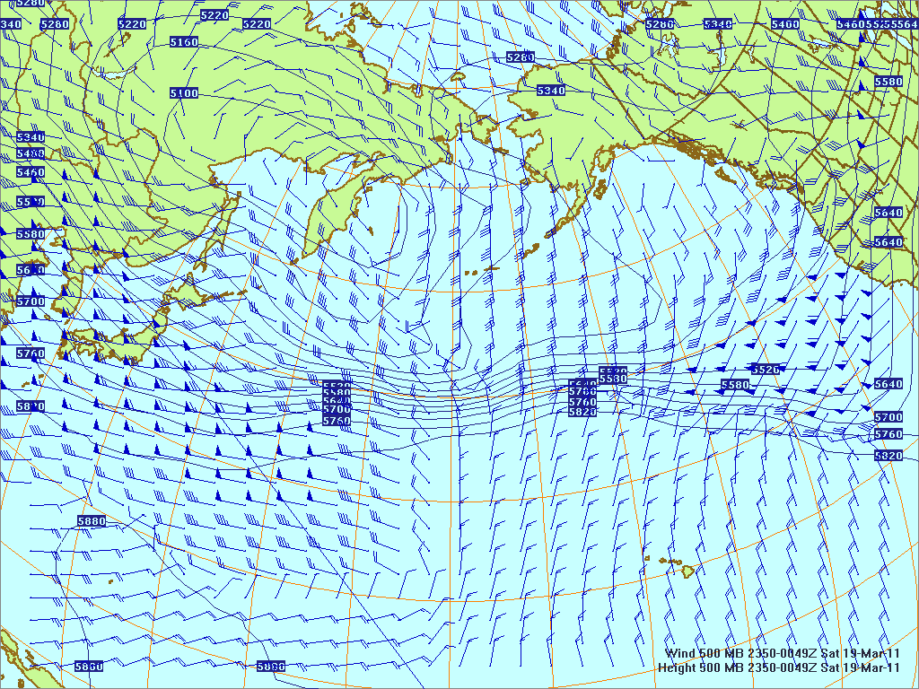 North­ern Pacific 500-mb pres­sure heights and winds, 18 Mar 2011, 1150Z