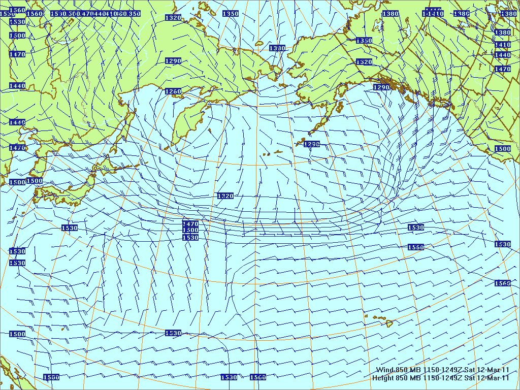 North­ern Pacific 850-mb pres­sure heights and winds, 12 Mar 2011, 1150Z