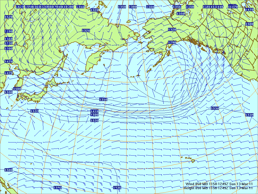 North­ern Pacific 850-mb pres­sure heights and winds, 13 Mar 2011, 1150Z