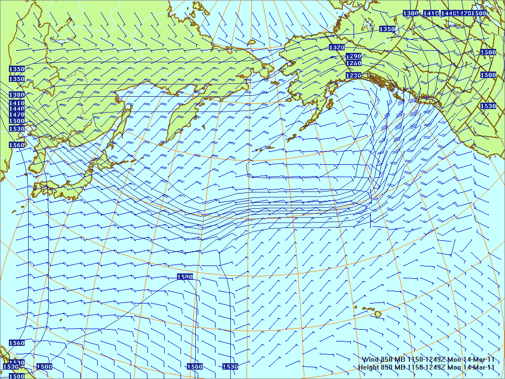 North­ern Pacific 850-mb pres­sure heights and winds, 14 Mar 2011, 1150Z