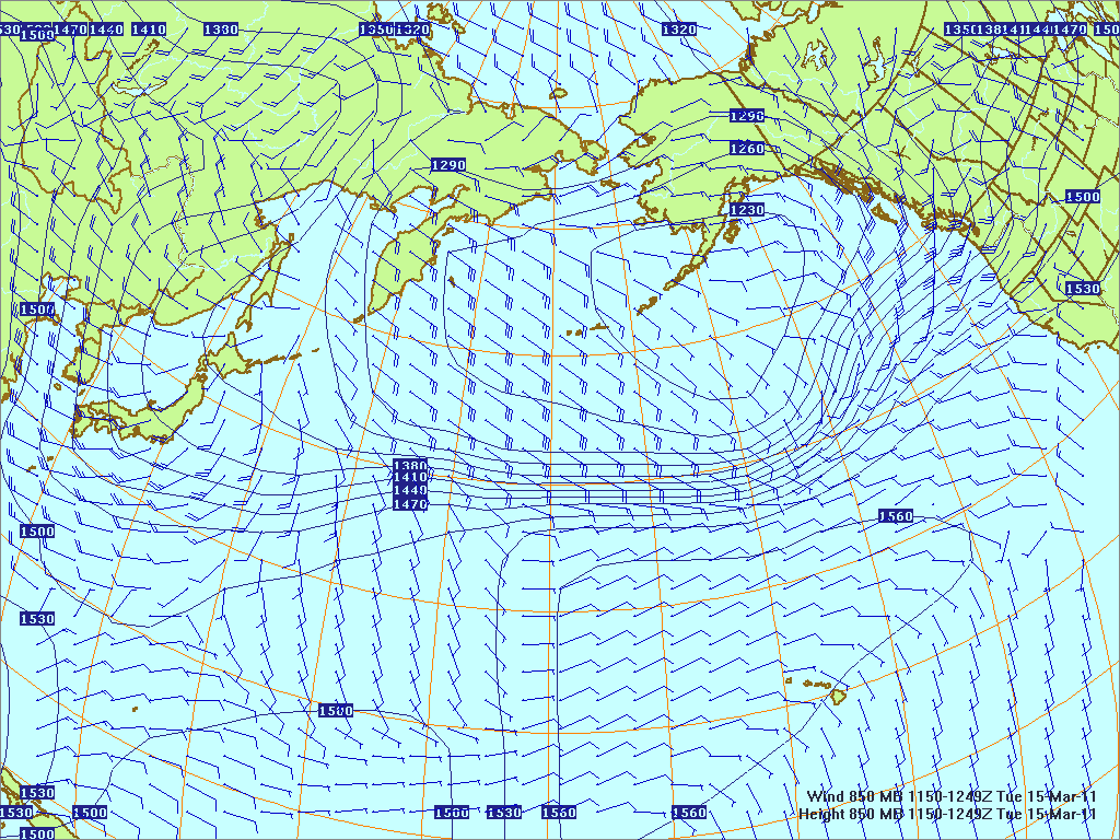 North­ern Pacific 850-mb pres­sure heights and winds, 15 Mar 2011, 1150Z