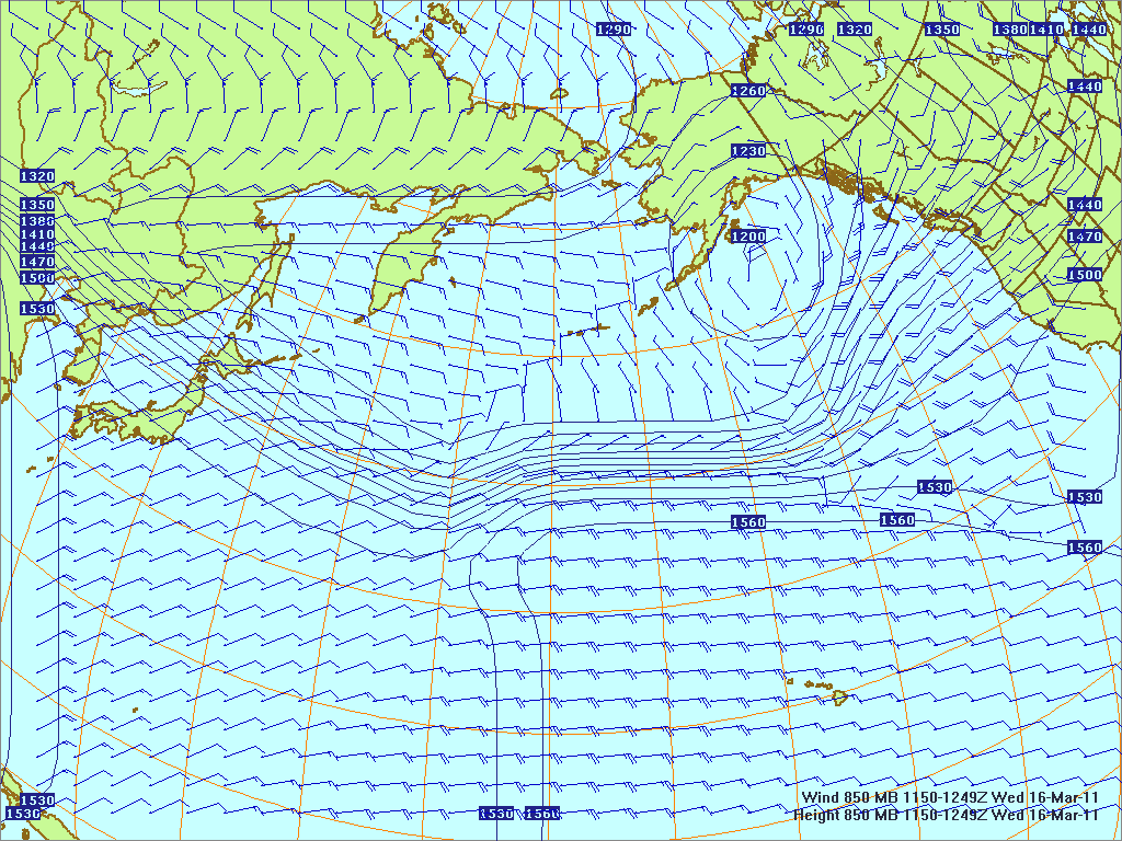 North­ern Pacific 850-mb pres­sure heights and winds, 16 Mar 2011, 1150Z