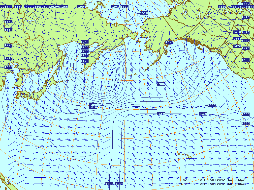 North­ern Pacific 850-mb pres­sure heights and winds, 17 Mar 2011, 1150Z