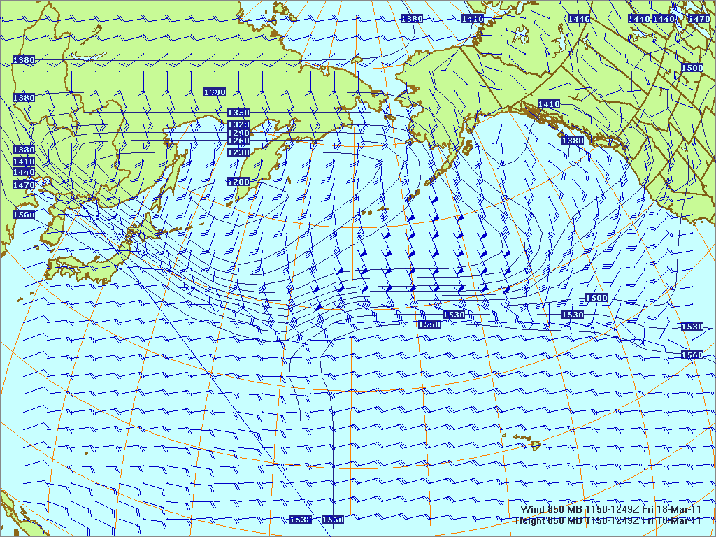North­ern Pacific 850-mb pres­sure heights and winds, 18 Mar 2011, 1150Z