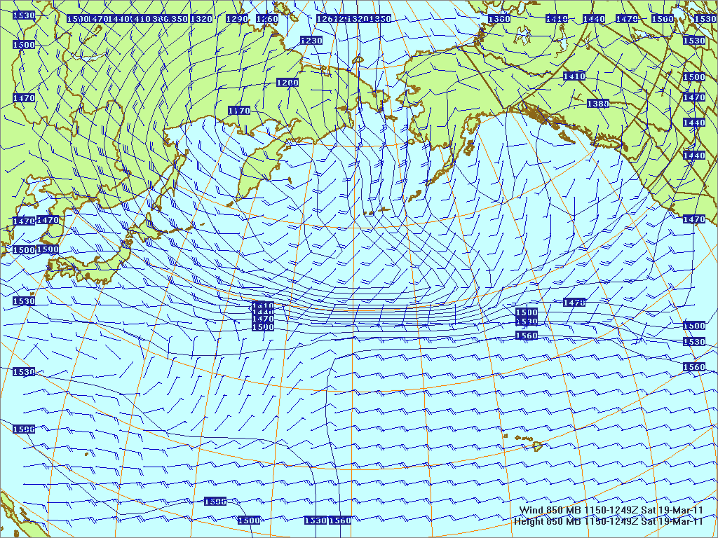 North­ern Pacific 850-mb pres­sure heights and winds, 19 Mar 2011, 1150Z