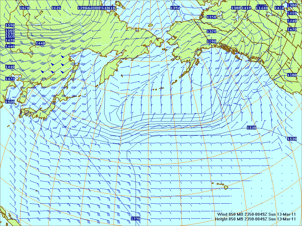 North­ern Pacific 850-mb pres­sure heights and winds, 12 Mar 2011, 2350Z
