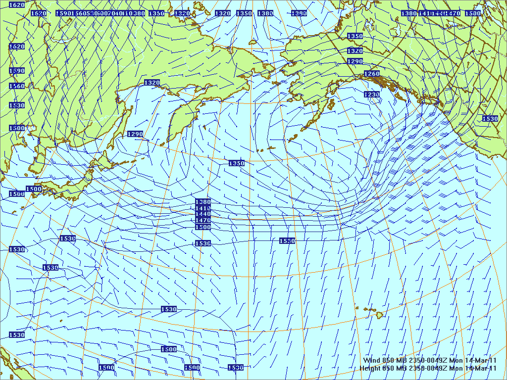 North­ern Pacific 850-mb pres­sure heights and winds, 13 Mar 2011, 2350Z