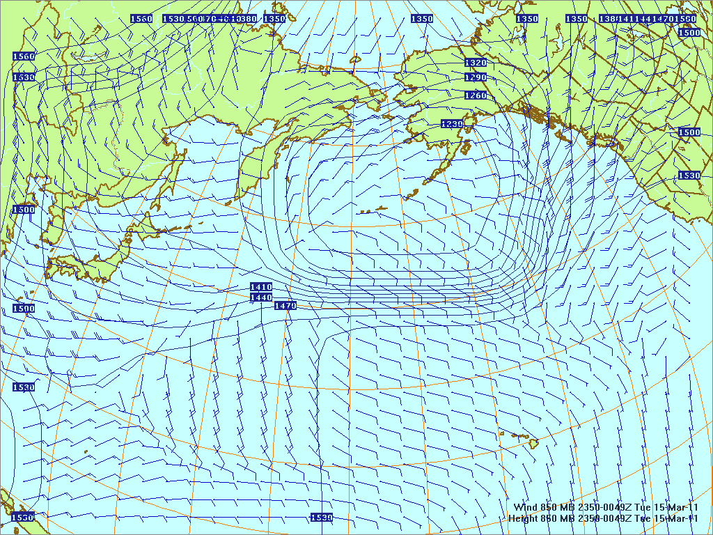 North­ern Pacific 850-mb pres­sure heights and winds, 14 Mar 2011, 2350Z