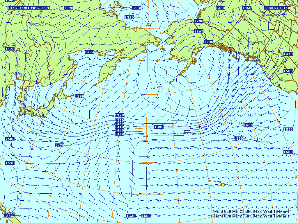North­ern Pacific 850-mb pres­sure heights and winds, 15 Mar 2011, 2350Z