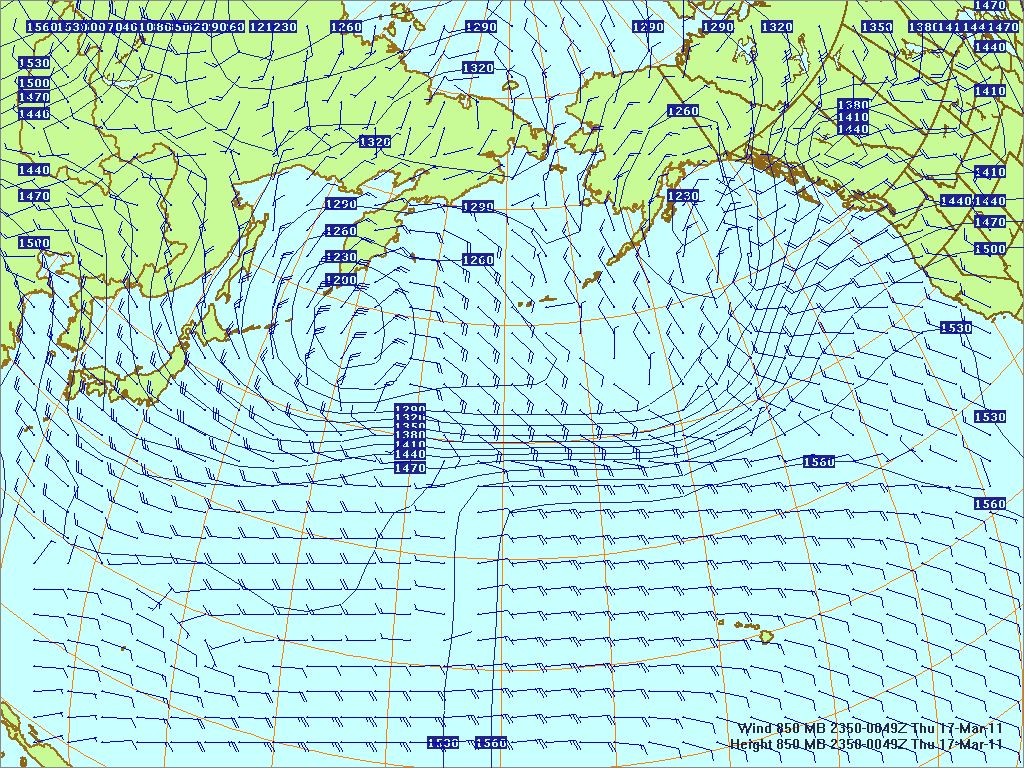 North­ern Pacific 850-mb pres­sure heights and winds, 16 Mar 2011, 2350Z