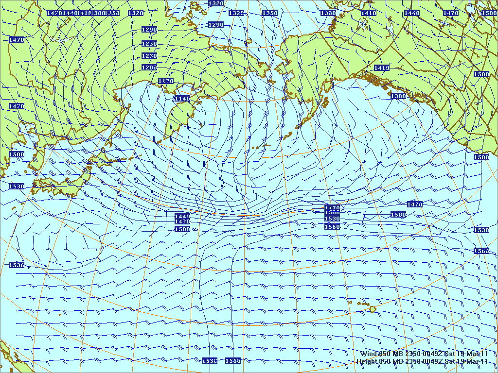 North­ern Pacific 850-mb pres­sure heights and winds, 18 Mar 2011, 2350Z