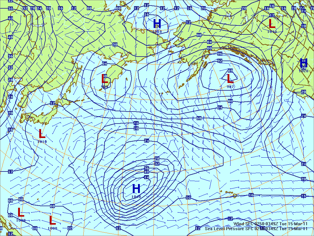 North­ern Pacific surface pres­sure and winds, 15 Mar 2011, 0250Z