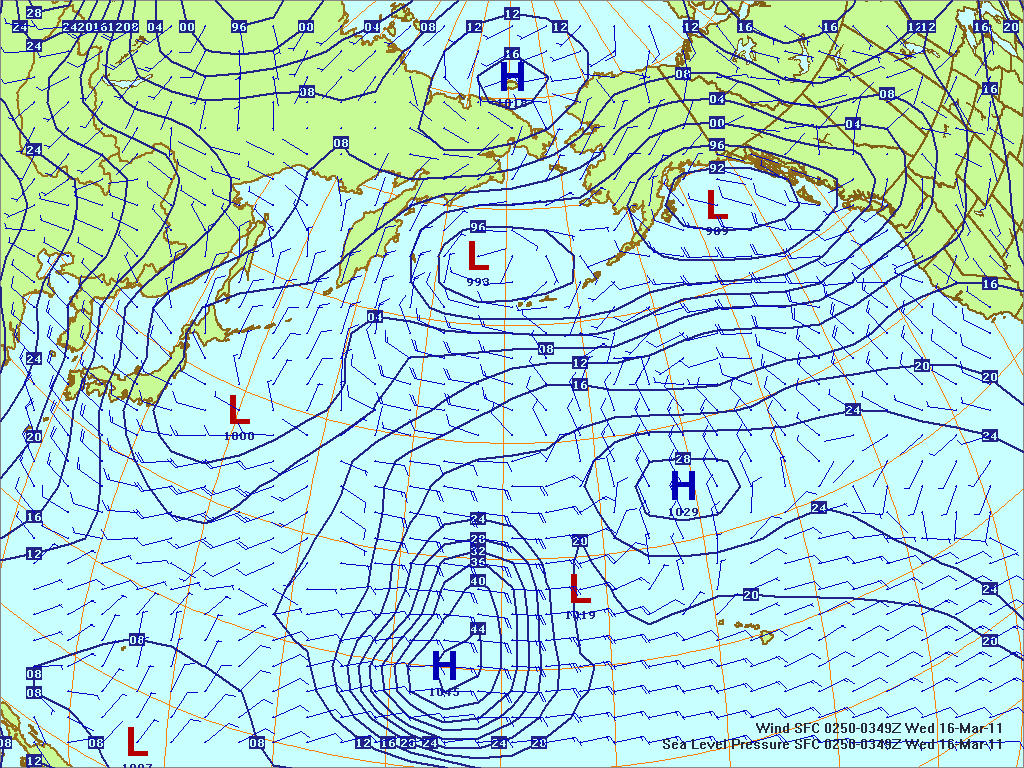 North­ern Pacific surface pres­sure and winds, 16 Mar 2011, 0050Z