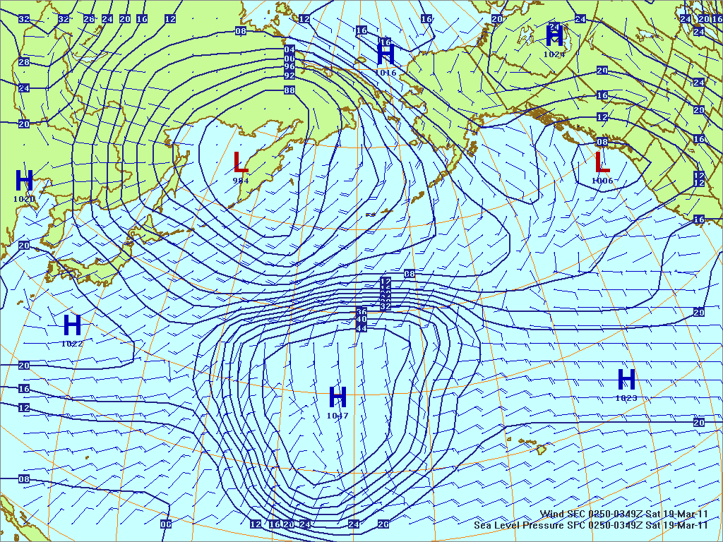 North­ern Pacific surface pres­sure and winds, 18 Mar 2011, 0250Z