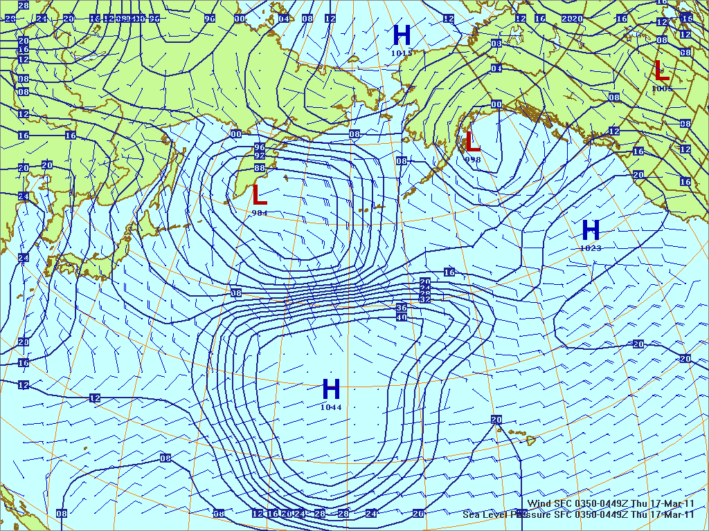 North­ern Pacific surface pres­sure and winds, 17 Mar 2011, 0350Z