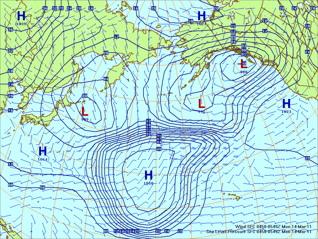 North­ern Pacific surface pres­sure and winds, 14 Mar 2011, 0150Z