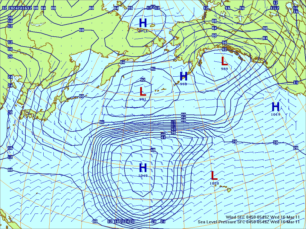 North­ern Pacific surface pres­sure and winds, 16 Mar 2011, 0450Z