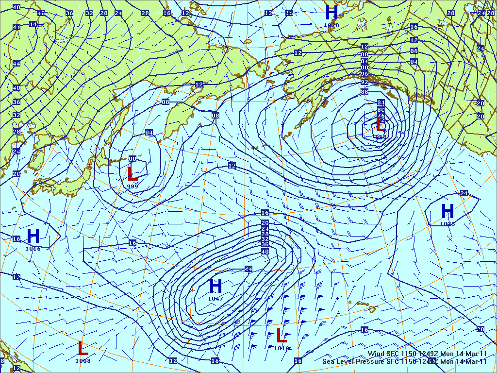 North­ern Pacific surface pres­sure and winds, 14 Mar 2011, 1150Z