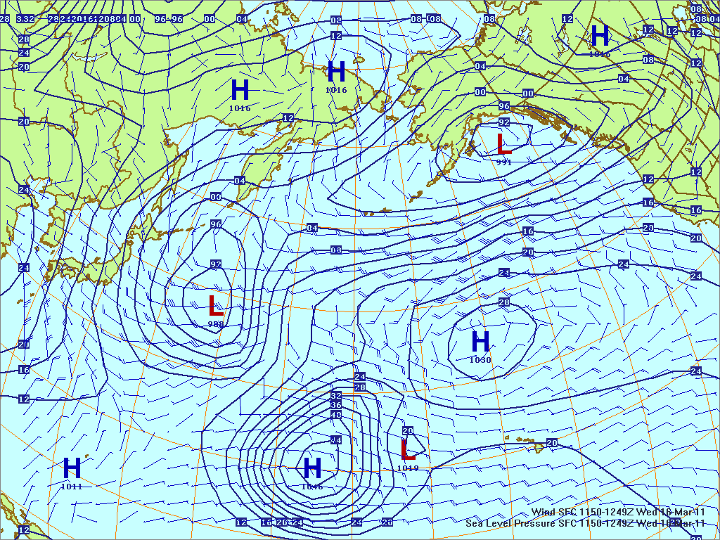 North­ern Pacific surface pres­sure and winds, 16 Mar 2011, 1150Z
