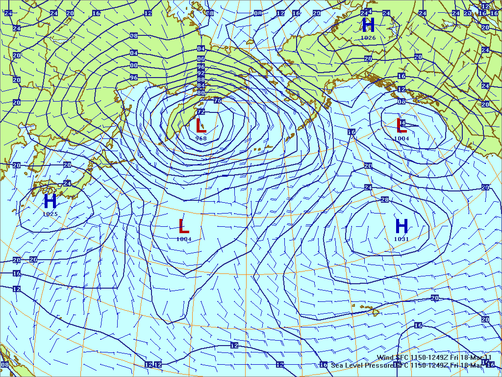 North­ern Pacific surface pres­sure and winds, 18 Mar 2011, 1150Z