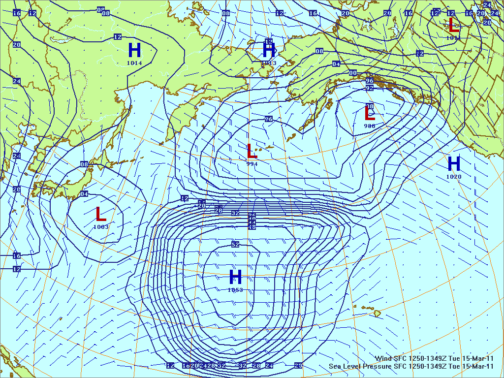 North­ern Pacific surface pres­sure and winds, 15 Mar 2011, 1450Z