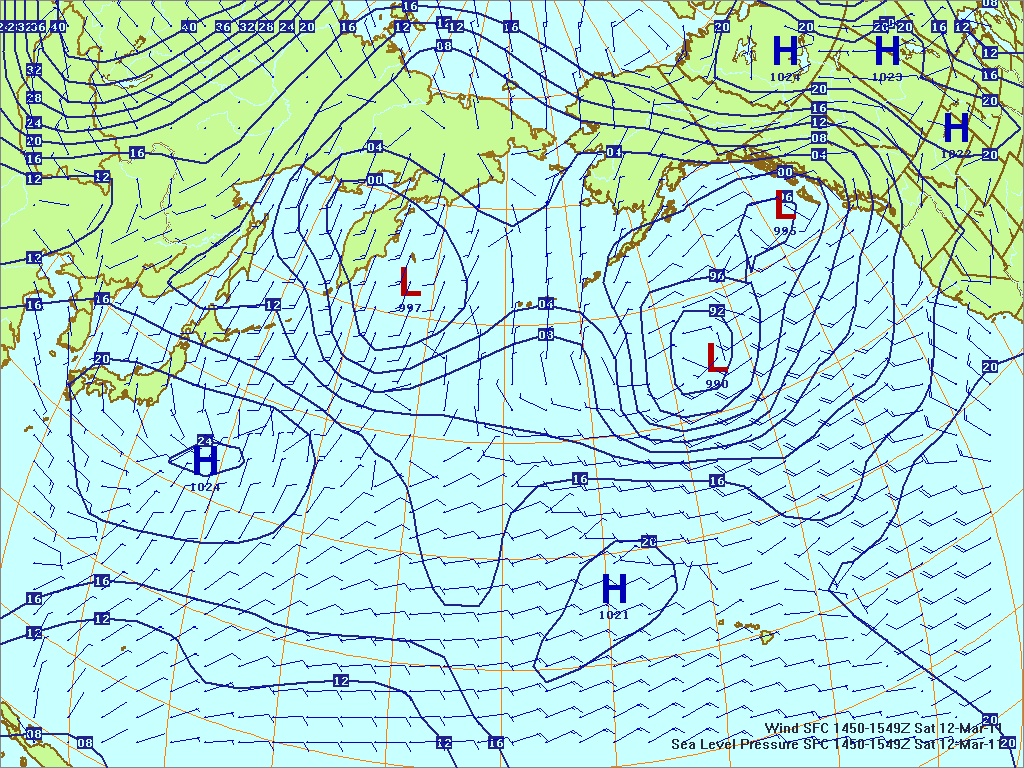 Northern Pacific surface pressure and winds, 12 Mar 2011, 1450Z