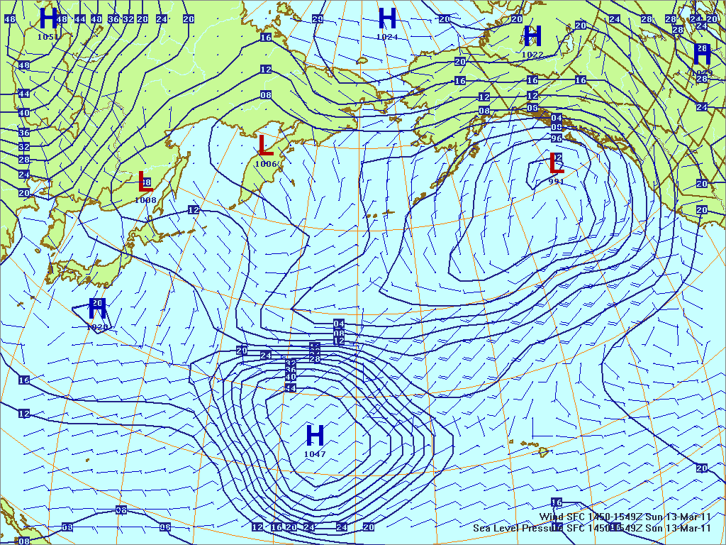 North­ern Pacific sur­face pres­sure and winds, 13 Mar 2011, 1450Z