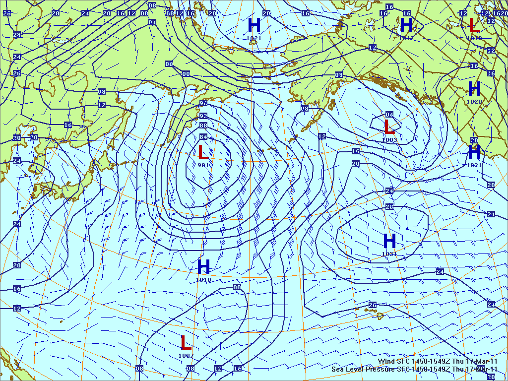 North­ern Pacific surface pres­sure and winds, 17 Mar 2011, 1450Z