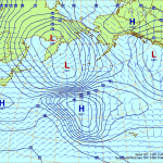 Northern Pacific surface pressure and winds, 19 Mar 2011, 1450Z