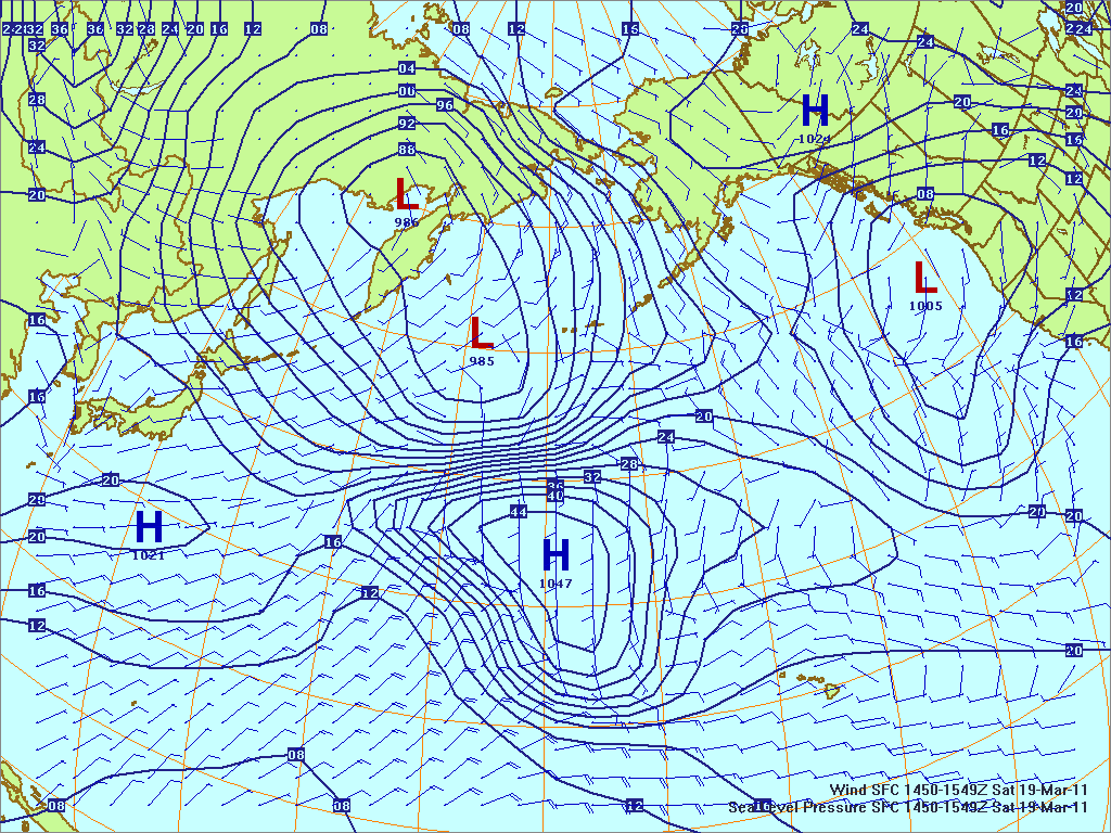 North­ern Pacific surface pres­sure and winds, 19 Mar 2011, 1450Z