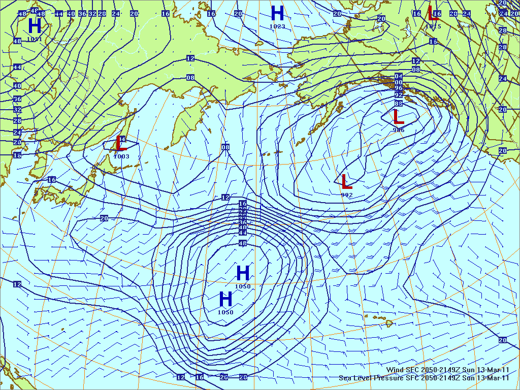 North­ern Pacific sur­face pres­sure and winds, 13 Mar 2011, 2050Z