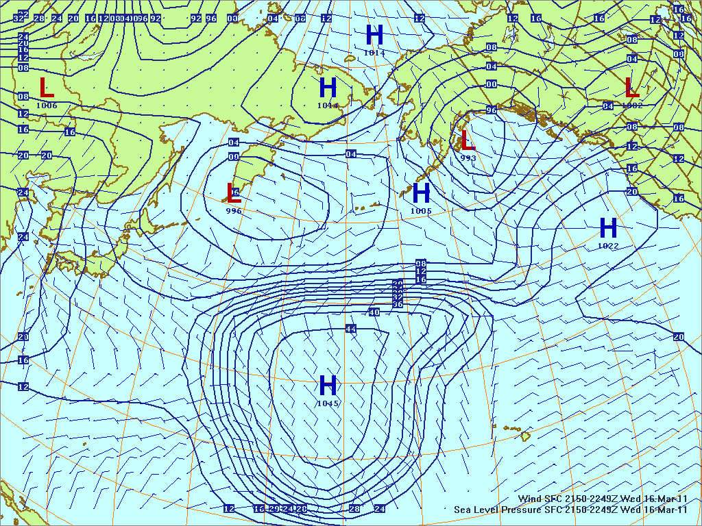 North­ern Pacific surface pres­sure and winds, 16 Mar 2011, 2150Z