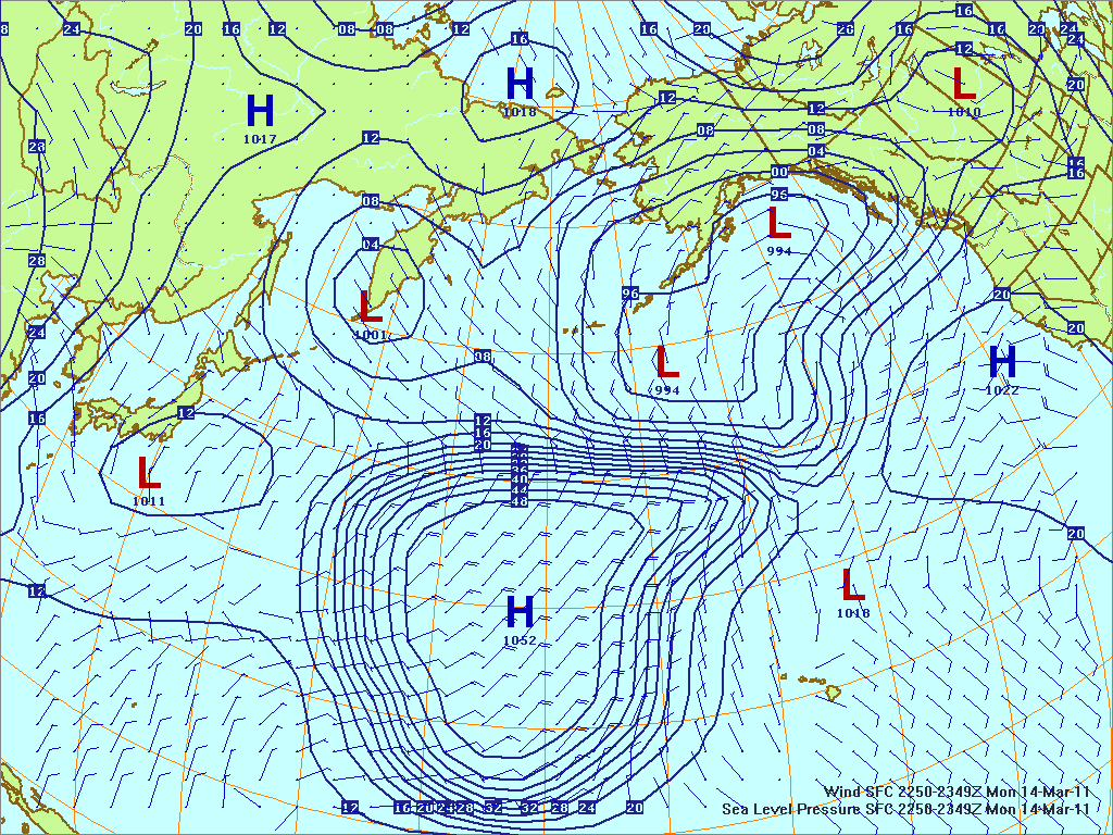 North­ern Pacific surface pres­sure and winds, 14 Mar 2011, 2250Z